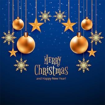 美しいメリークリスマスカードお祝い青い背景