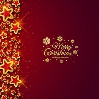 赤い背景の美しい光沢のあるクリスマス星のお祝い