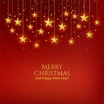 美しいクリスマスの黄金の星のお祝いの背景