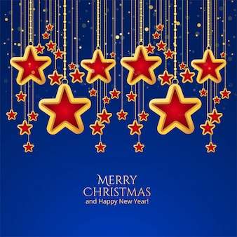 青色の背景に美しいクリスマスの星のお祝い