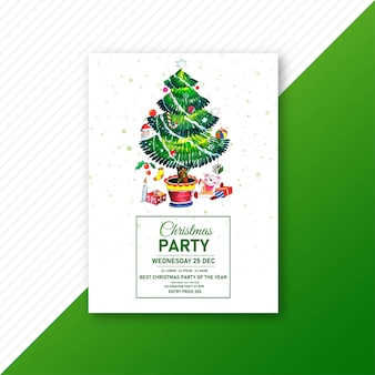 クリスマスパーティーのお祝いのパンフレットと緑のクリスマスツリー