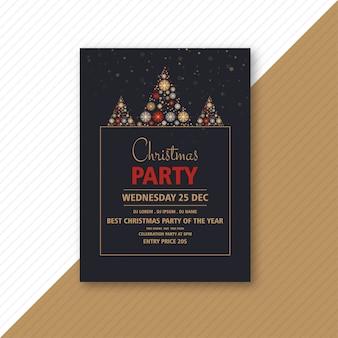 Декоративная рождественская вечеринка флаера с креативными снежинками