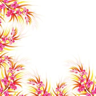 手描きの結婚式のカラフルな装飾的な花カード