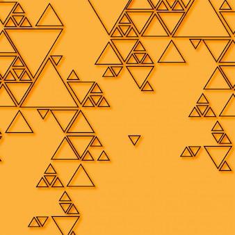 オレンジ色の背景上の抽象的な三角形