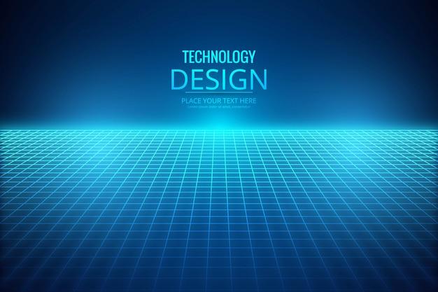 ライン技術の背景を持つ抽象的な青い光