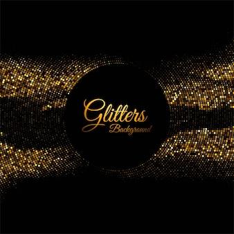 黒の背景に抽象的な光沢のある黄金の輝き