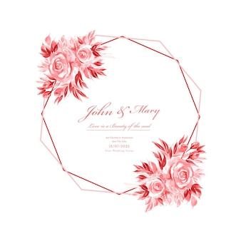 結婚式の招待カード装飾花のフレームテンプレート