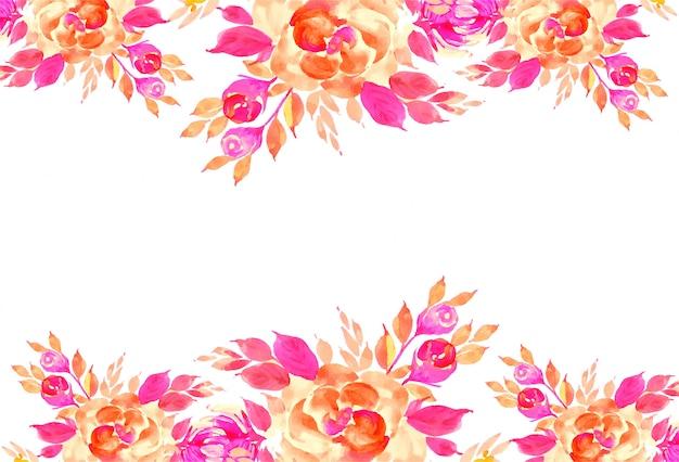 装飾的なカラフルな水彩花カード背景
