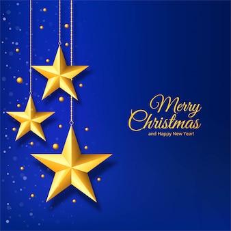 青の背景に金色の星とクリスマス