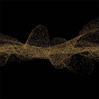 黒の背景に金色の輝く波と抽象的な