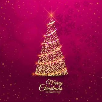 メリークリスマスツリーのお祝いカード