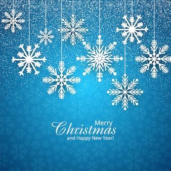 メリークリスマスブルーの雪片カード