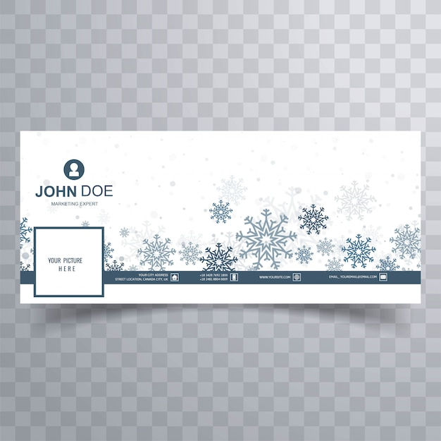 Счастливого рождества снежинки баннер шаблон вектор