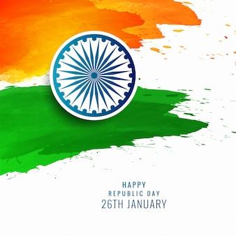 白の水彩画、インドの旗