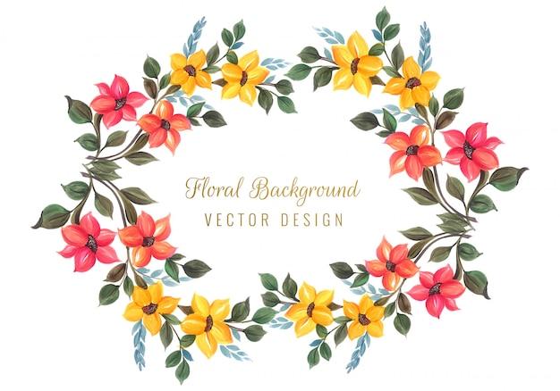 Декоративная красочная цветочная рамка дизайн вектор