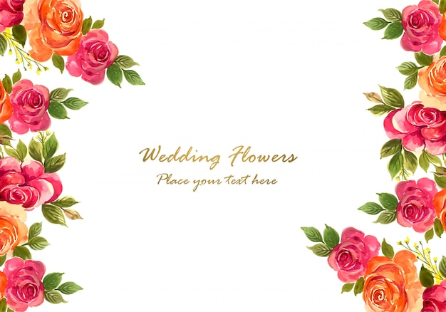 Декоративная красочная свадебная цветочная рамка