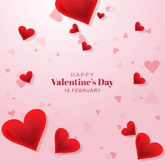 幸せなバレンタインデーの素敵なハートグリーティングカードテンプレート
