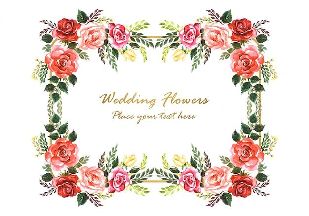 Красивая свадебная пригласительная рамка с декоративными цветами