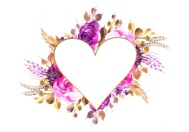 色とりどりの花の背景とバレンタインの招待カード
