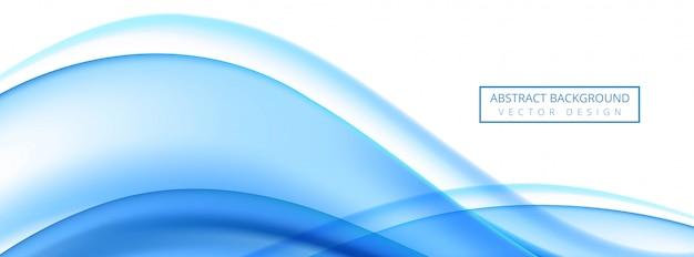 白い背景のモダンな流れる青い波バナー