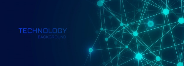 図形を接続するポリゴンと技術バナーの背景