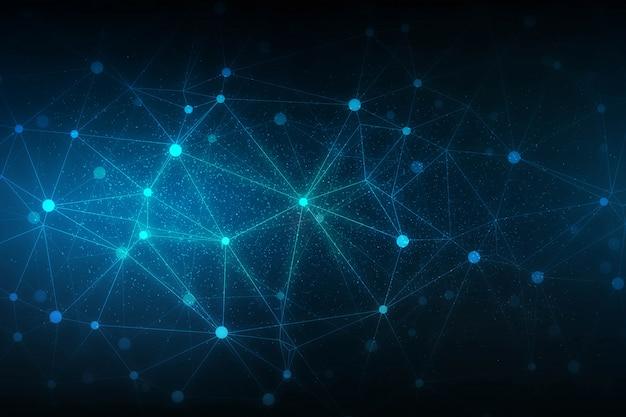 Абстрактный фон науки технологии с подключением дизайна многоугольников