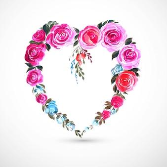 Красивая декоративная цветочная открытка с сердечком
