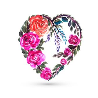 カラフルな花の心とバレンタインの日カード