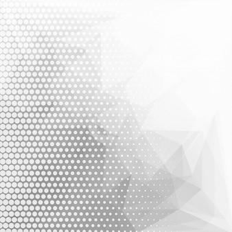 点線の背景を持つ抽象的な灰色の幾何学的な多角形