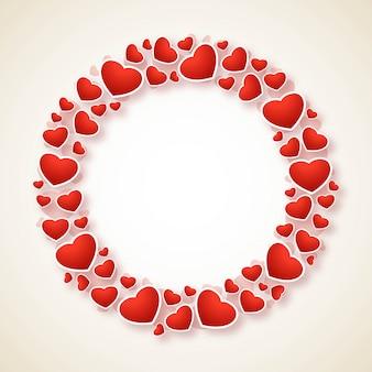 装飾的な心のデザインと幸せなバレンタインの日グリーティングカード