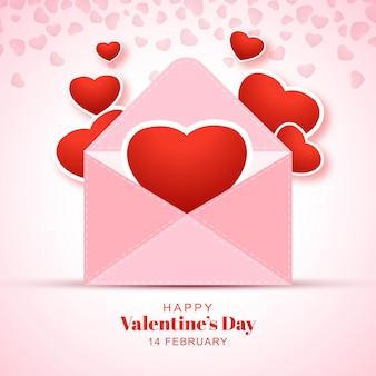幸せなバレンタインデーの赤い色はがきのお祝い