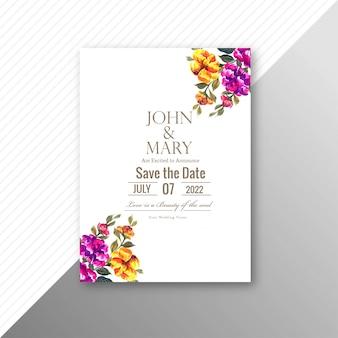 Элегантные свадебные цветы приглашение дизайн шаблона