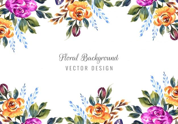 色とりどりの花カードテンプレートでロマンチックな結婚式の招待状