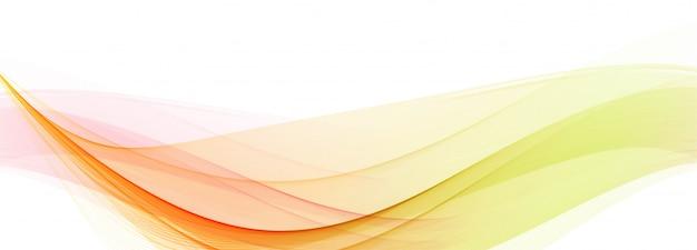 白い背景にモダンな流れるカラフルな波バナー