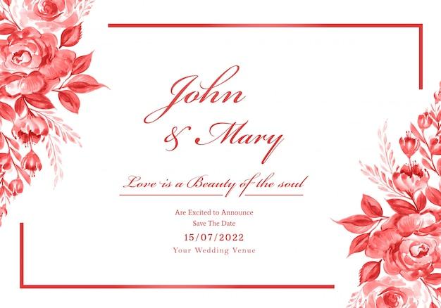 Красивая свадебная пригласительная открытка с рамкой из цветов