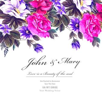 Свадебные красочные цветы с шаблоном приглашения