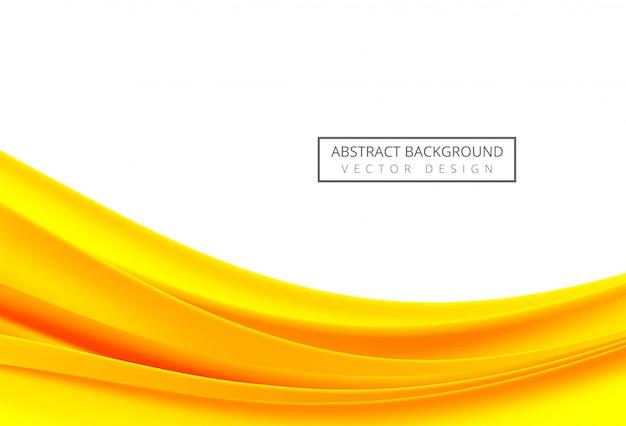白い背景の上の抽象的なオレンジと黄色の流れる波