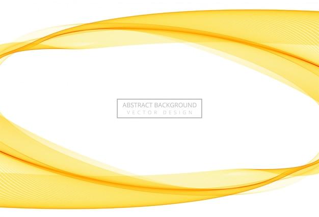 白い背景の上の抽象的な黄色のスタイリッシュな流れる波