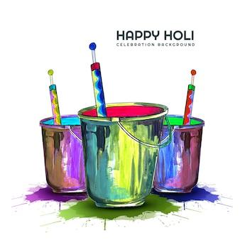 色グリーティングカードのハッピーホーリーインド春祭り