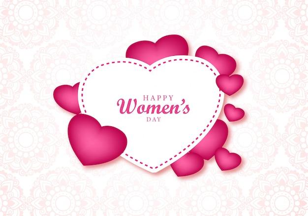 Поздравительная открытка сердца счастливого женского дня красивая