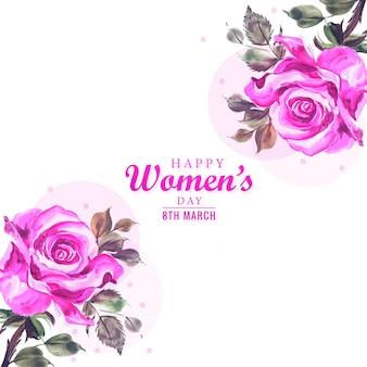 装飾的な花のデザインと女性の日カード