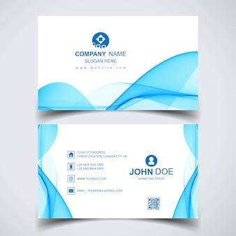 Творческая визитная карточка с синими волнами