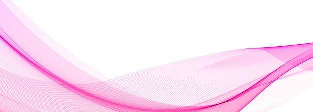 Абстрактный творческий розовый баннер волны на белом фоне