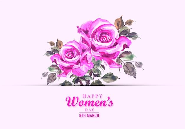 幸せな女性の日美しい花カードの背景