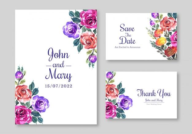 花のデザインの結婚式の招待カードのテンプレート