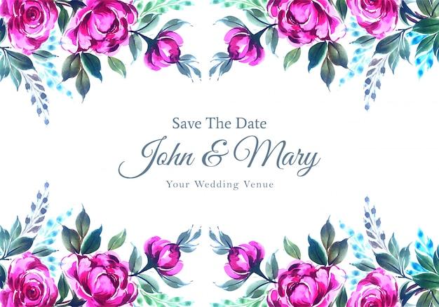 結婚式招待状花フレームカード