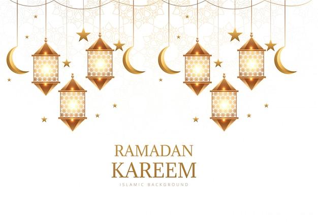 月のラマダンカリームの背景を持つエレガントなアラビア語ハンギングランタン