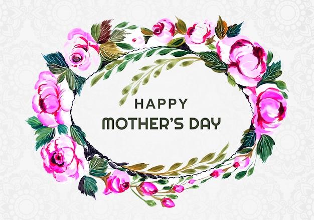 円形の花装飾フレーム母の日カードデザイン
