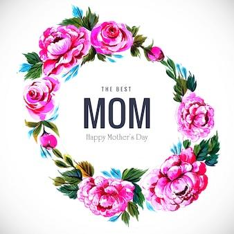花円形フレームデザインの幸せな母の日カード