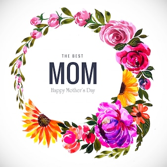 エレガントな美しい母の日カード花フレーム